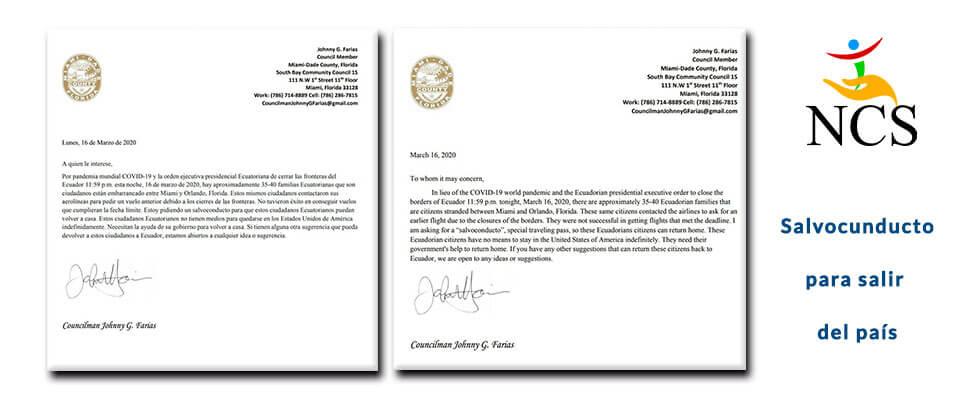 Salvoconducto aprobado para salir de Miami 16 marzo 2020
